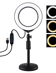 cheap -PULUZ PU392 Round Base Desktop Mount  USB Dimmable LED Ring Vlogging Video Light