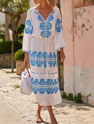 cheap -Women's A-Line Dress Midi Dress - 3/4 Length Sleeve Floral Summer Casual 2020 White Blue Purple S M L XL XXL XXXL