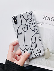 cheap -Funny Cartoon Fashion TPU iPhone 6 iPhone7 iPhone 8 iPhone 11 iPhone 11 Pro iPhone 11 Pro Max iPhone XS iPhone XR Transparent Line Drawing Head Pattern Back Cover iPhone Phone Case