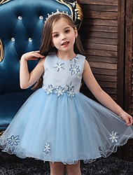 cheap -Princess / Ball Gown Floor Length Wedding / Party Flower Girl Dresses - Satin / Tulle Sleeveless Jewel Neck with Bow(s) / Appliques