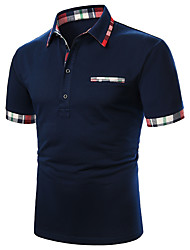 cheap -Men's Polo Solid Colored Patchwork Short Sleeve Daily Tops Cotton Basic Navy Blue