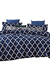 cheap -Duvet Cover Sets 3 Piece Bedding Sets Blue White Geometric Pattern Polyester Ultra Soft (1 Flat Sheet 1 Duvet Cover 1 Pillowcase)
