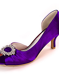 cheap -Women's Wedding Shoes Spring / Summer Stiletto Heel Peep Toe Classic Wedding Party & Evening Rhinestone Solid Colored Satin White / Black / Purple