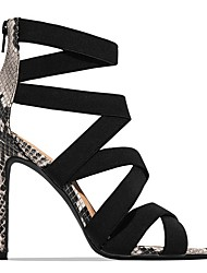 cheap -Women's Sandals Summer Stiletto Heel Open Toe Daily PU Almond / Black / Animal Print