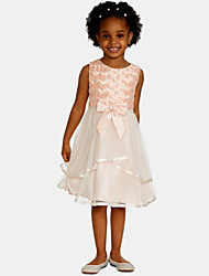 cheap -A-Line Knee Length Wedding / Party Flower Girl Dresses - Satin / Tulle Sleeveless Jewel Neck with Bow(s) / Appliques