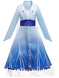 cheap -Frozen Dress Cosplay Costume Costume Girls' Movie Cosplay European Helloween Vacation Dress Blue Dress Belt Children's Day