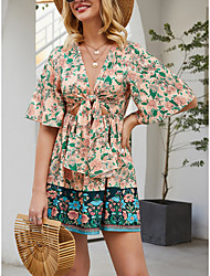 cheap -Women's Sundress Short Mini Dress - Half Sleeve Floral Spring Summer Mumu Boho 2020 Blushing Pink S M L XL