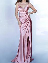 cheap -Mermaid / Trumpet Elegant Beautiful Back Engagement Formal Evening Dress V Neck Sleeveless Sweep / Brush Train Stretch Satin with Ruched Split 2020