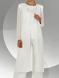 cheap -Two Piece Pantsuit / Jumpsuit Mother of the Bride Dress Elegant Jewel Neck Floor Length Chiffon Long Sleeve with Sequin 2021
