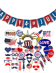cheap -Photo Booth Props 4th / Fourth of July Happy 4th of July Banner Independence Day Labor Day 40 pcs All Hand-made for Party Favors Supplies or Home Decoration / Kids