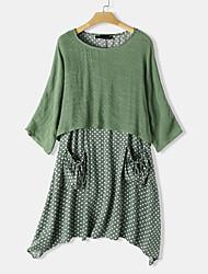 cheap -Women's Shift Dress Knee Length Dress - Half Sleeve Polka Dot Summer Casual Daily 2020 Black Blue Red Blushing Pink Green M L XL XXL XXXL XXXXL XXXXXL