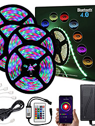 cheap -ZDM  20M (4*5M) App Intelligent Control Bluetooth Music Sync Flexible Led Strip Lights 2835 RGB SMD 1080 LEDs IR 24 Key Bluetooth Controller with 12V Adapter Kit