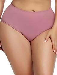 cheap -Women's Basic Brief - Plus Size Mid Waist White Black Purple XL XXL XXXL