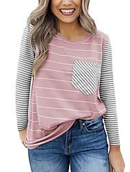 cheap -Women's Sweatshirt Striped Basic White Black Blushing Pink Navy Blue Light Blue S M L XL XXL