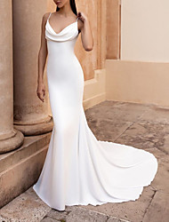 cheap -Mermaid / Trumpet Wedding Dresses Spaghetti Strap Sweep / Brush Train Stretch Satin Sleeveless Simple Backless with Ruched 2021