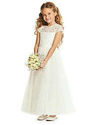 cheap -Sheath / Column Floor Length Wedding / Party Flower Girl Dresses - Lace / Tulle Cap Sleeve Jewel Neck with Tier