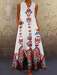 cheap -Women's Swing Dress Maxi long Dress - Sleeveless Tribal Summer V Neck Boho Vacation White Black Yellow Navy Blue Light Blue S M L XL XXL XXXL XXXXL XXXXXL