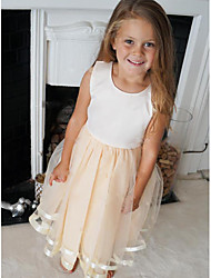 cheap -A-Line Knee Length Wedding / Party Flower Girl Dresses - Satin / Tulle Sleeveless Jewel Neck with Pleats