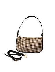 cheap -Women's Zipper Polyester Top Handle Bag Lattice Beige