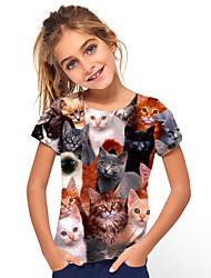 cheap -Kids Girls' T shirt Tee Short Sleeve Cat Animal Print Black Children Tops Basic Cute