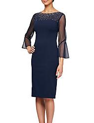 cheap -Sheath / Column Mother of the Bride Dress Elegant Plus Size Jewel Neck Knee Length Stretch Satin 3/4 Length Sleeve with Beading 2020 / Illusion Sleeve
