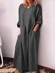 cheap -Women's A-Line Dress Maxi long Dress - 3/4 Length Sleeve Solid Color Summer V Neck Casual 2020 Wine Green Gray S M L XL XXL 3XL 4XL 5XL