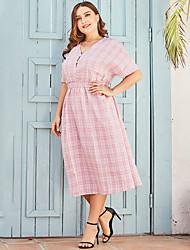 cheap -Women's A-Line Dress Midi Dress - Short Sleeves Color Block Summer Casual 2020 Blushing Pink L XXL XXXL