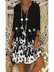 cheap -Women's Shift Dress Short Mini Dress Black Half Sleeve Black & White Floral Print Summer V Neck Hot Casual 2021 M L XL XXL 3XL