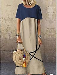 cheap -Women's A-Line Dress Knee Length Dress - Short Sleeves Color Block Summer Work 2020 Orange Khaki L XL XXL XXXL XXXXL XXXXXL