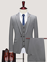 cheap -Tuxedos Notch Single Breasted One-button Cotton Blend / Cotton / Polyester Plaid Checkered / Stripes