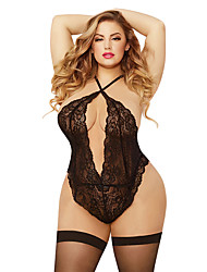 cheap -Women's Lace Bodysuits Nightwear Solid Colored Black XXXL XXXXL XXXXXL