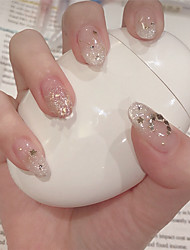 cheap -24pcs False Nails Silver Glitter Star And Moon Fake Fingernails Wearing Manicure Finished Manicure Artificial Nail Tips Crystal Clear Tips
