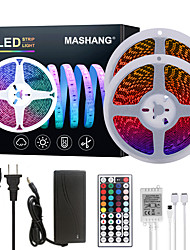 cheap -Bright RGB LED Strip Lights 32.8ft 10M RGB Tiktok Lights 1200LEDs SMD 5050 with 44 Keys IR Remote Controller and 100-240V Adapter for Home Bedroom Kitchen TV Back Lights DIY Deco