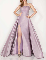 cheap -A-Line Glittering Beautiful Back Engagement Prom Dress Spaghetti Strap Sleeveless Floor Length Satin with Split 2020