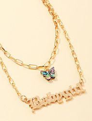 cheap -Women's Pendant Necklace Necklace Layered Necklace Stacking Stackable Alphabet Shape Butterfly Classic Rustic Elegant Trendy Chrome Gold 46 cm Necklace Jewelry 1pc For Anniversary Party Evening