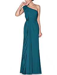 cheap -Sheath / Column One Shoulder Floor Length Chiffon Bridesmaid Dress with Ruching