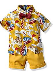 billiga -Barn Småbarn Pojkar Grundläggande Tryck Kortärmad Klädesset Vit