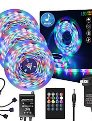 baratos -Zdm 50ft 3 x 5 metros música síncrona feliz faixa de luz multicolor 2835 rgb à prova d 'água conduzida tira de luz flexível com 20 chave controlador ir opcional com kit de adaptador dc12v
