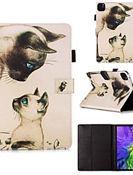 cheap -Case For Apple iPad Pro 11''(2020) / iPad 2019 10.2 / Ipad air3 10.5' 2019 Wallet / Card Holder / with Stand Full Body Cases Cat Stare PU Leather / TPU for iPad Air / iPad Air2 / iPad (2018)