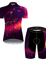 cheap -21Grams Women's Short Sleeve Cycling Jersey with Shorts Nylon Polyester Violet Polka Dot 3D Gradient Bike Clothing Suit Breathable 3D Pad Quick Dry Ultraviolet Resistant Reflective Strips Sports