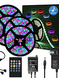 cheap -65ft  4x 5 Meter Music Synchronous Happy Multicolour Light Strip 2835 RGB LED Flexible Light Strip with 20 key IR Controller Optional with Adapter Kit DC12V