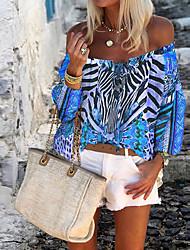 cheap -Women's Tops Geometric Blouse Off Shoulder Daily Summer Blue Purple Yellow Orange S M L XL 2XL