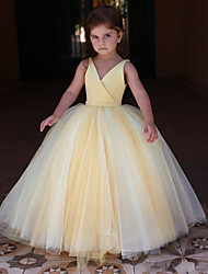 cheap -Princess / Ball Gown Floor Length Wedding / Party Flower Girl Dresses - Satin / Tulle Sleeveless V Neck with Pleats / Solid