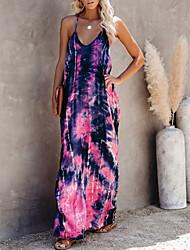 cheap -Women's Strap Dress Maxi long Dress - Sleeveless Tie Dye Summer Mumu 2020 Blushing Pink Light Green Gray S M L XL XXL
