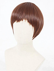 cheap -Cosplay Wig Lolita Straight Cosplay Halloween Bob Neat Bang Wig Short Brown Synthetic Hair 12 inch Women's Anime Cosplay Party Brown