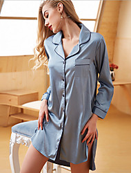 cheap -Women's Shirt Collar Babydoll & Slips Pajamas Solid Colored