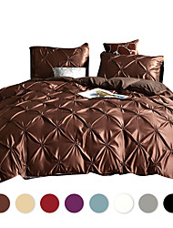 cheap -Duvet Cover Sets Solid Color /Luxury / Contemporary Polyster Pleated 3 Piece Bedding Set With Pillowcase Bed Linen Sheet Single Double Queen King Size Quilt Covers Bedclothes