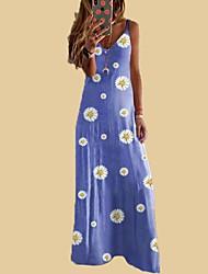 cheap -Women's Strap Dress Maxi long Dress - Sleeveless Floral Summer Strapless Sexy Boho 2020 Blue Purple Yellow Wine Khaki Gray Light Blue S M L XL XXL 3XL
