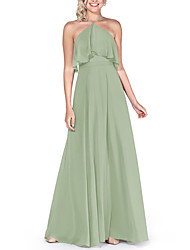 cheap -A-Line Halter Neck Floor Length Chiffon Bridesmaid Dress with Pleats / Ruffles