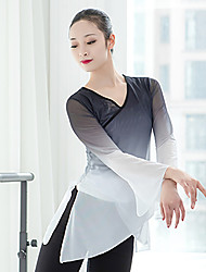 cheap -Ballet Top Split Women's Training Performance Long Sleeve High Stretch Yarn Polyester